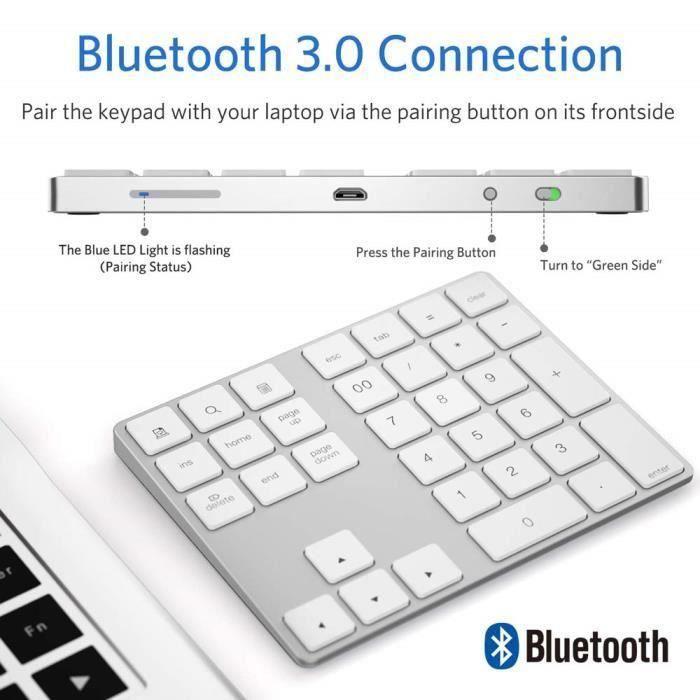 Pavé Numérique sans Fil Bluetooth Rechargeable 34 Touches Extension pour