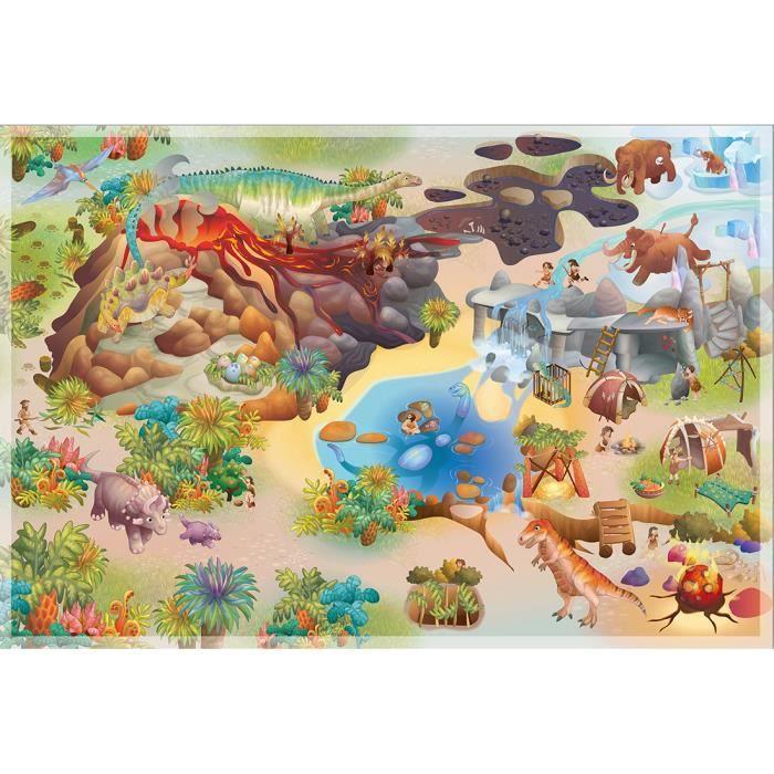 Tapis enfant jeu circuit CONNECTE DINOSAURES multicolore 100x150, par House Of Kids, Tapis pour enfant