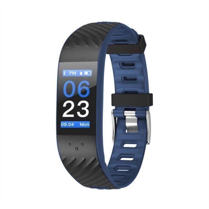 P4 OLED Écran Couleur Bluetooth BRACELET D'ACTIVITE Fitness Tracker IP67 Podomètre pour iOS 8.0 - Android 4.3 (Noir et Bleu Foncé)