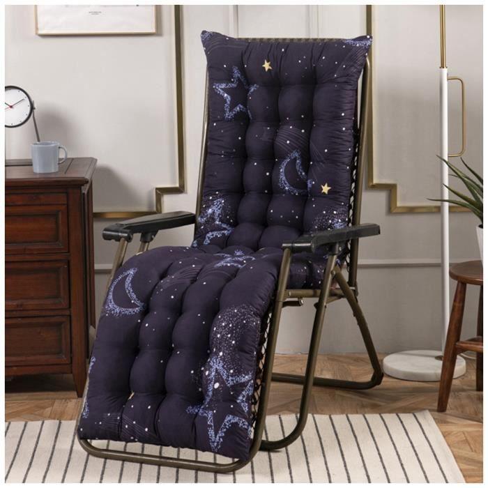 Coussin Bain de Soleil Jardin Pliable Anti-Dérapant Coussin Chaise Longue Epais Confort,48x170cm,Bleu 2