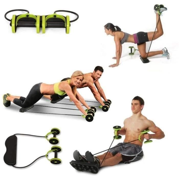 Appareil d'étirement abdominal pour exercices de fitness Roues Belly Wheel Roller Trainer Stretch Elastic Belly Resistance , Green