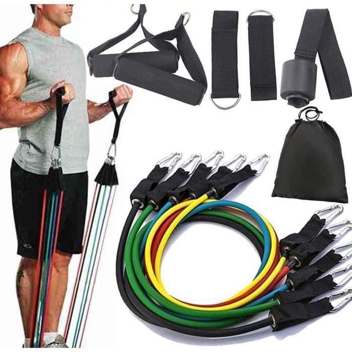 Musculation-Bandes de Fitness, Bandes de Résistance Set Elastiques, Kit de 11 Accessoires Exercice Elastiques Gym Sport