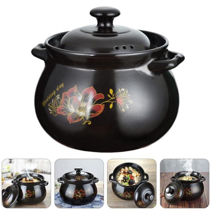 Marmites et soupières,Marmite à ragoût en céramique avec couvercle,marmite en céramique pour la maison,1 pièce - Type Black #A