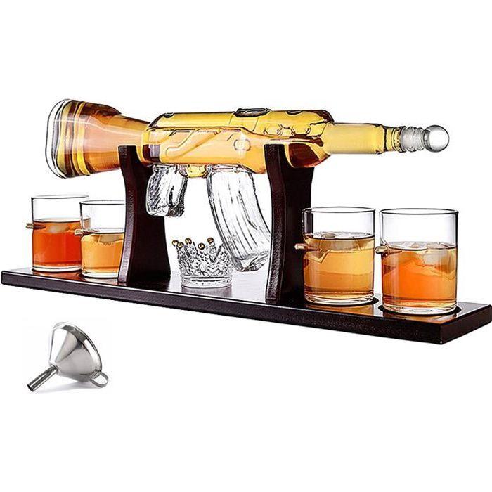 Whisky Ensemble De Carafe, 800ML Fusil Élégant Whisky Carafe Avec 4 Verres À Balle Et La Base De Pin, Haut Verre Blanc Sans Plo 933