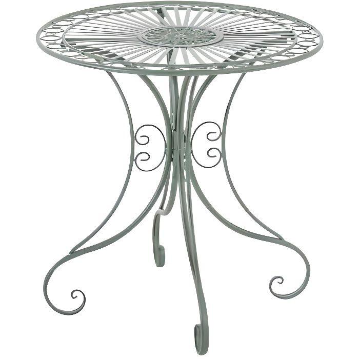 CLP Gracieuse Table de jardin en fer forgé HARI, au style nostalgique, diamètre Ø 70 cm, 6 couleurs au choix73 cm - vert antique CLP