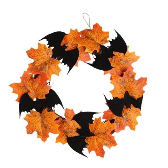 Couronne d'halloween, halloween feuille d'érable feuille floral feuille feuille feuille batte guirlande pendentif porte suspendu flo