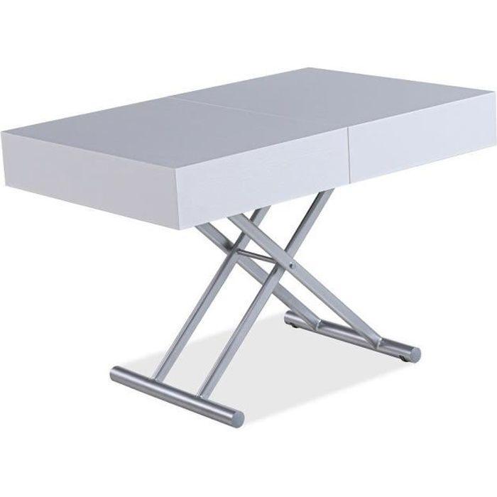 Table relevable extensible HARIE mélaminée chêne blanc blanc Bois Inside75