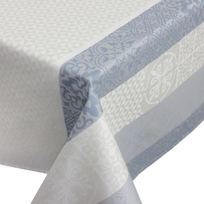 Nappe carrée 170x170 cm Jacquard 100% coton + enduction acrylique MOSAIC PERLE Gris Autre