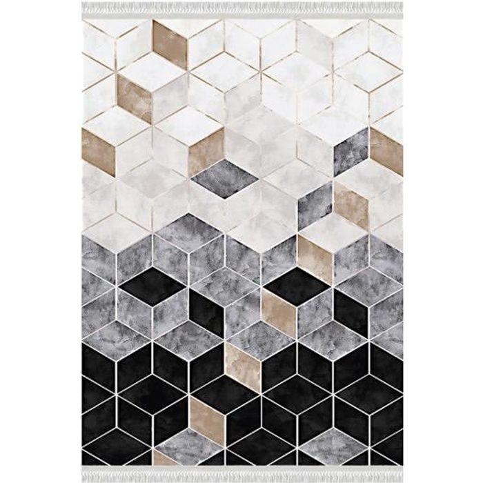 Tapis de salon LUXE Doré, Noir Dimensions - 120x180
