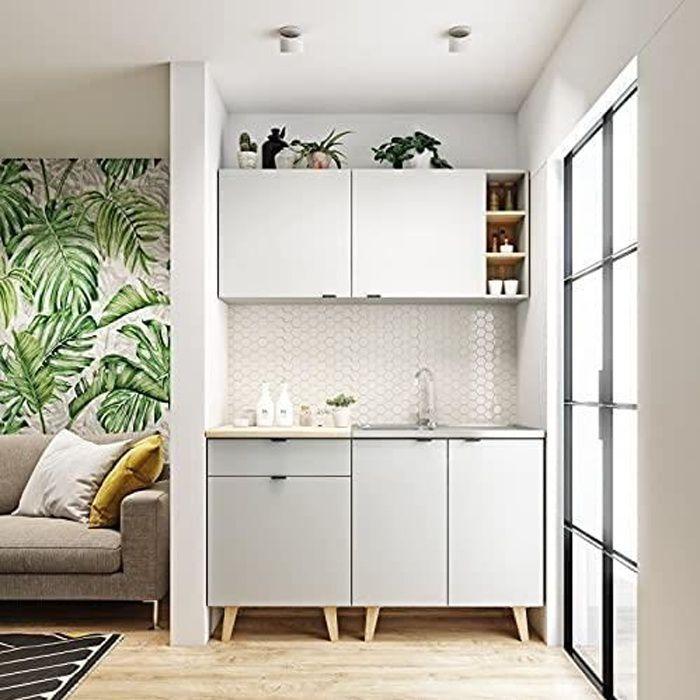 Cuisine complète LYKKA 140 cm idéal pour Studio et Petit Appartement Style scandinave