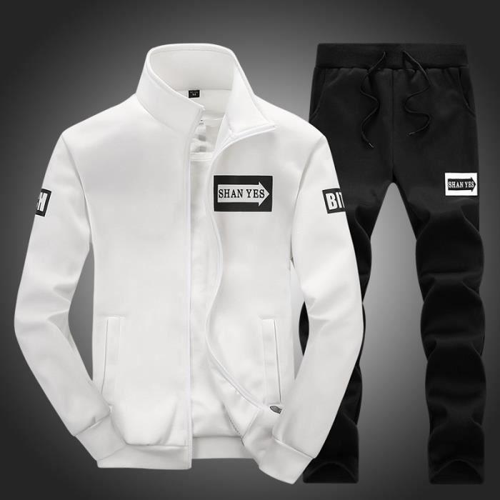 Survetement homme deux pièces Veste et pantalons pour sport simple automne hiver en polyester et coton