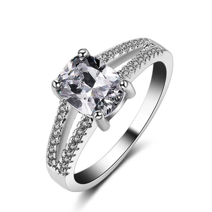 Bijoux de mode coussin coupé 2 ct diamant simulé Cz Bague de Mariage pour Femmes 10KT Or Blanc Rempli Femelle Bande de Fiançailles
