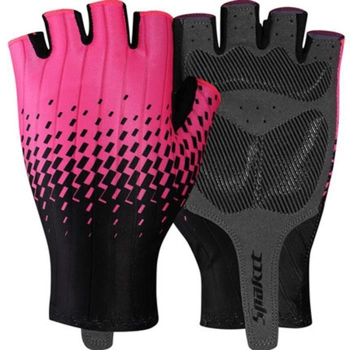 Gants vélo,Femmes gants de cyclisme en plein air protéger gants de VTT demi doigt hommes été respirant vélo de - Type pink black