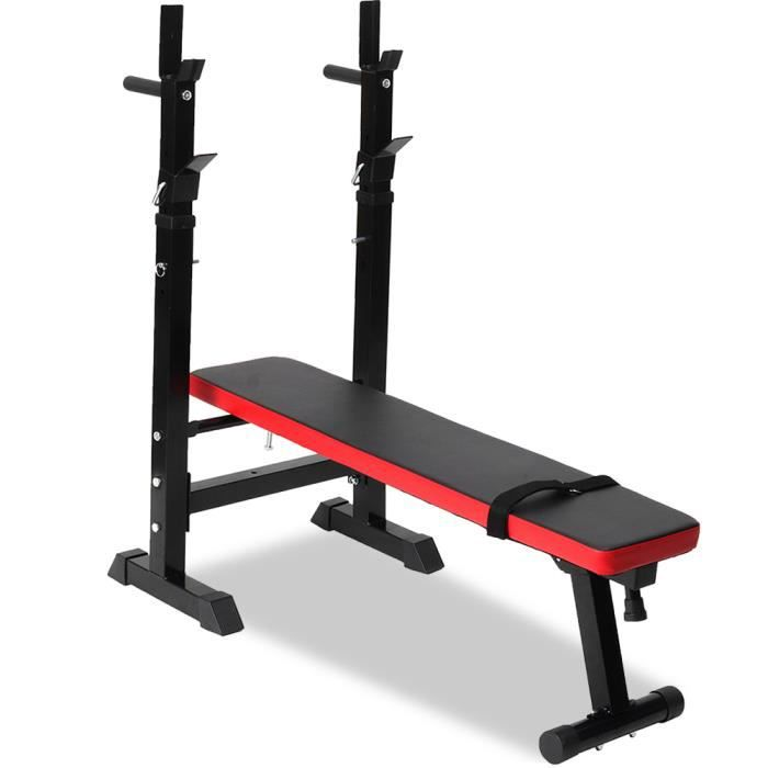 NEUFU Banc de Musculation Multifonction MAX 200KG Abdominaux Pliable avec Support de Barres pour Haltère et Station à Dips