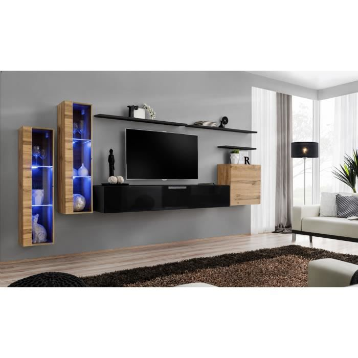 Ensemble meuble salon mural SWITCH XI design, coloris noir brillant et chêne Wotan. 40 Noir