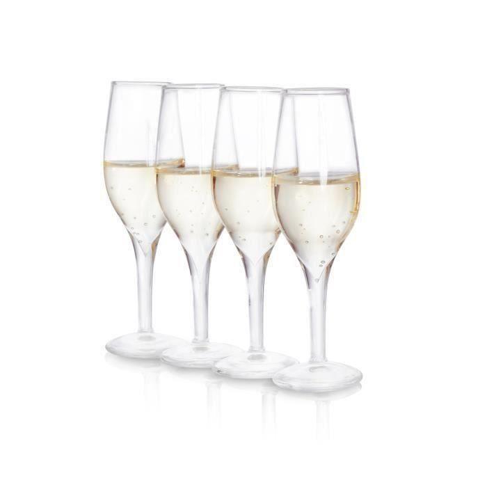 SOIREE Lot de 4 verres à shot en forme de verre à champagne
