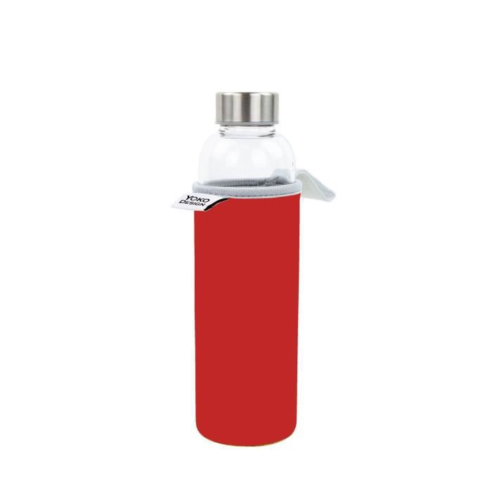 YOKO DESIGN Glass bottle avec pochette néoprène - Rouge - 500 ml