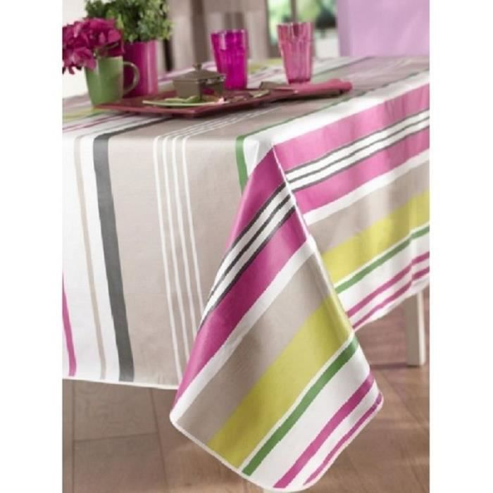 Nappe en toile cir e ovale 180x240 cm colorama stripe for Toile ciree pour table de jardin