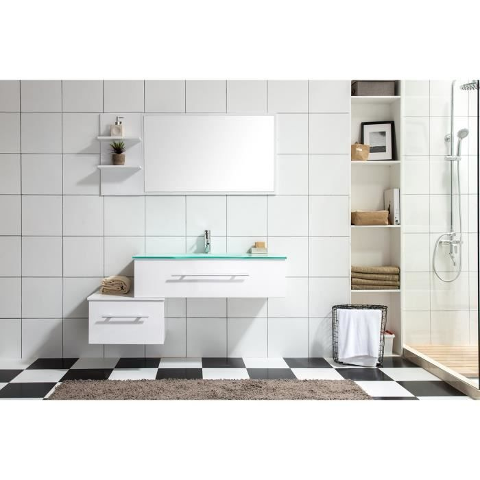 meuble de salle de bain lys a 1 vasque 1 miroir blanc achat vente salle de bain complete. Black Bedroom Furniture Sets. Home Design Ideas