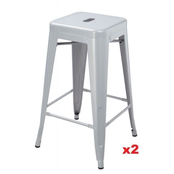 lot de 2 tabourets de bar style industriel en m tal gris argent tdb09112 achat vente. Black Bedroom Furniture Sets. Home Design Ideas