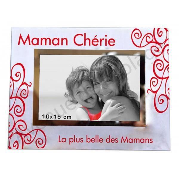"""Cadre photo /""""Maman Chérie/"""" à poser horizontal en verre idée cadeau Mère neuf"""