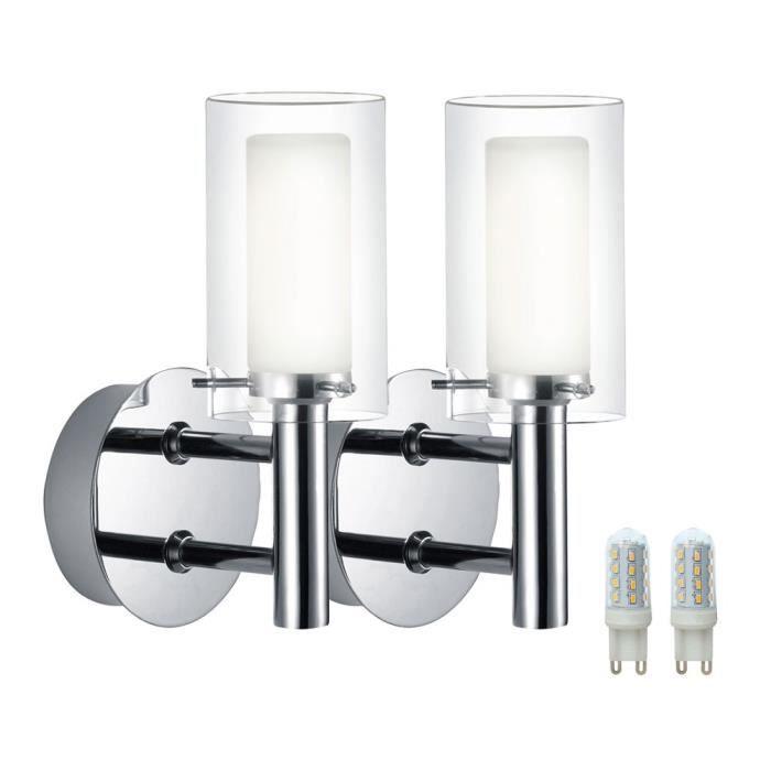 applique mural maison salle de bain inox et verre double ampoule g9-220v-led