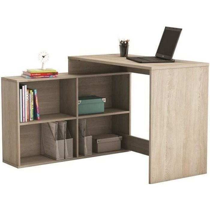 corner bureau d 39 angle contemporain d cor ch ne shannon l 112 cm achat vente bureau corner. Black Bedroom Furniture Sets. Home Design Ideas