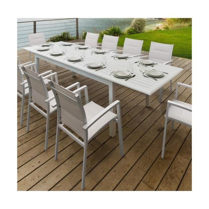 table azua ext alu blanc 12p achat vente table de jardin table azua ext alu blanc 12p. Black Bedroom Furniture Sets. Home Design Ideas