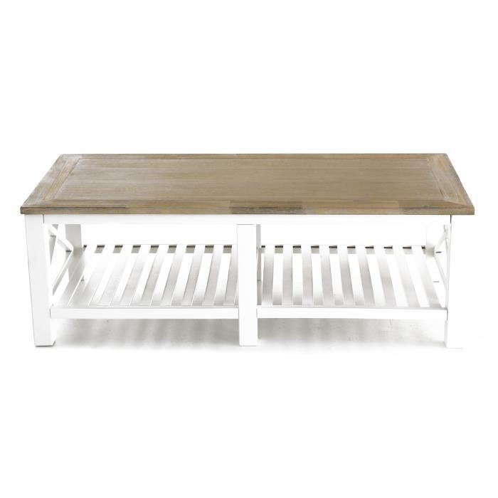 Table basse blanche rectangulaire bois d 39 acacia milano for Table basse rectangulaire bois