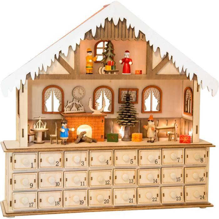 Modele Calendrier De L Avent.Calendrier De L Avent En Bois Grand Modele Maison De Noel