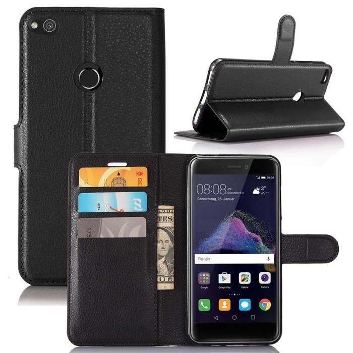 Moonmini® Coque Huawei P8 Lite 2017 - P9 Lite 2017 - Honor 8 Lite(5.2) en PU Cuir avec Portefeuille et Support fonction (Noir)