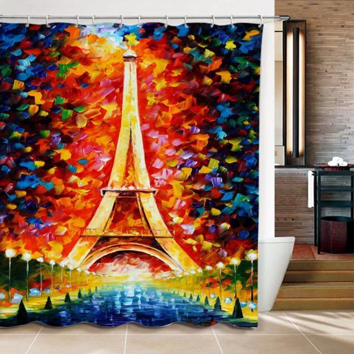 Rideau De Douche La Tour Eiffel Peinture Coloree 3d Effect Impermeable 180 X 200 Cm Achat Vente Rideau De Douche Soldes Sur Cdiscount Des Le 20 Janvier Cdiscount