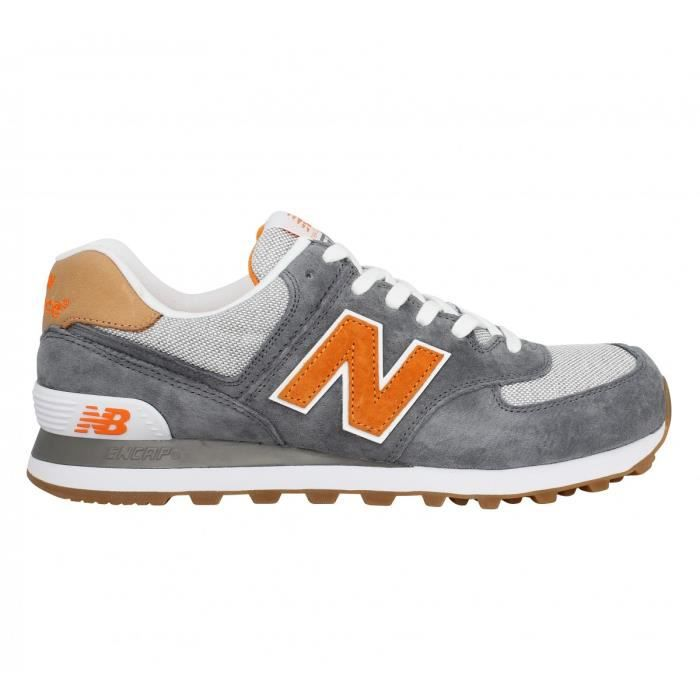 a47a5135ecf03 Baskets NEW BALANCE 574 velours + toile Homme Gris orange - Achat ...