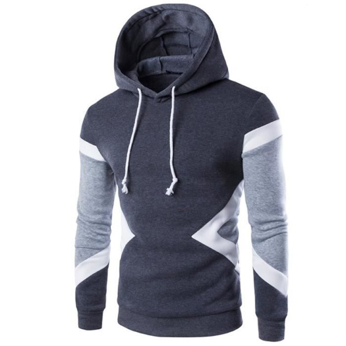 Hoodies Sweat a capuche Homme Gris foncé Marque Pullover Sweatshirt Gris Noir Bleu Bleu marin Chameau
