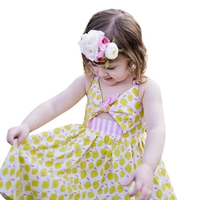 Mignon Enfant Bébé Fille Motif Floral Casual princesse Tulle Robe Tenues Vêtements