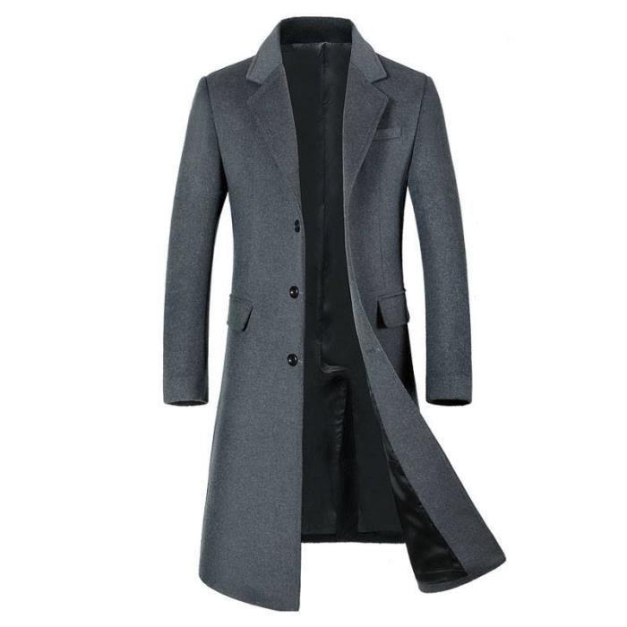 Manteau Homme Laine Hiver Chaud Parka Veste en Fourrure Trench Coat Slim Fit Casual Simple Caban