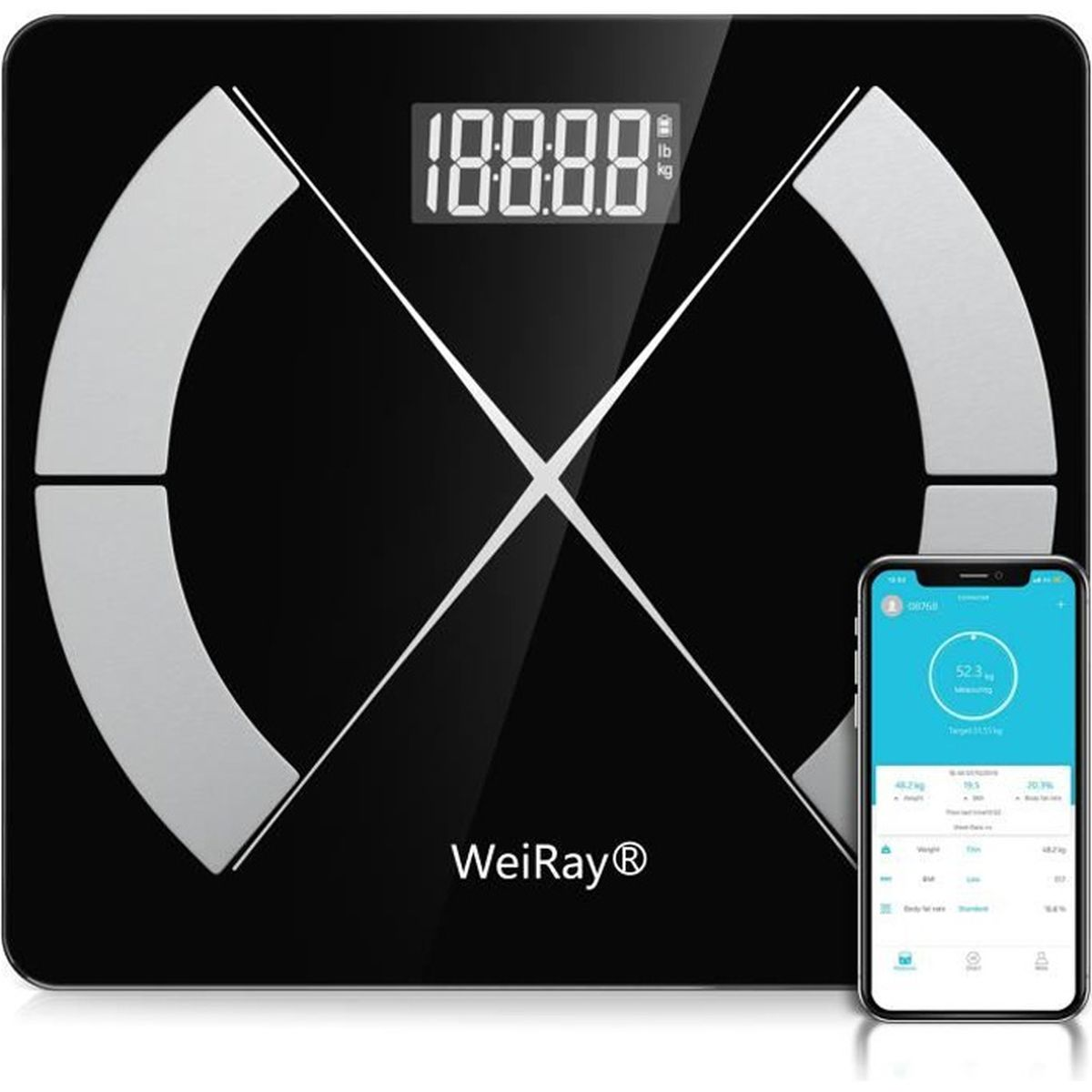 retail prices amazing price authorized site Pèse Personnes Impédancemètre - WEIRAY® Balance Pèse-Personne Bluetooth,  Ecran Rétroéclairé LED Grand