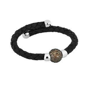 BRACELET - GOURMETTE Bracelet Perle de Tahiti A Homme Argent & Cuir Gra