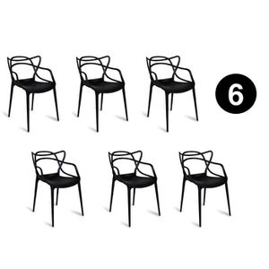 CHAISE Lot 6 chaises MIAMI – noir – inspirée Starck Maste