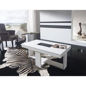 TABLE BASSE Table basse relevable blanc laqué design JOSY L 11