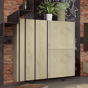 BUFFET - BAHUT  Argentier industriel couleur bois et effet béton J