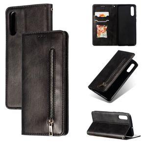 HOUSSE - ÉTUI Etui Housse Samsung Galaxy A50 Noir en PU Cuir ave