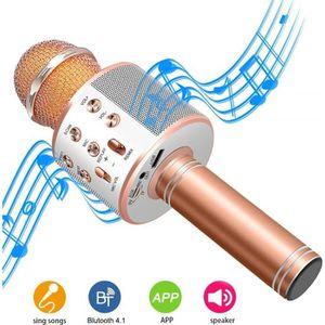 MICROPHONE - ACCESSOIRE Microphone Karaoké sans Fil, Portable intégré Blue
