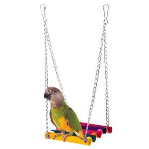 VOLIÈRE - CAGE OISEAU Balançoire en bois coloré pour perroquet Jouet Per