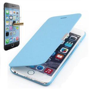 coque iphone 6 6s plus rabat magnetique bleu ver