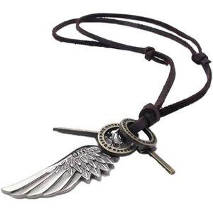 PENDENTIF VENDU SEUL Bijoux Collier en cuir a pendentif d'ailes d'Ange