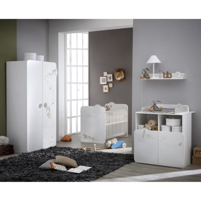 Jungle chambre b b compl te lit armoire commode for Chambre complete 2 personnes