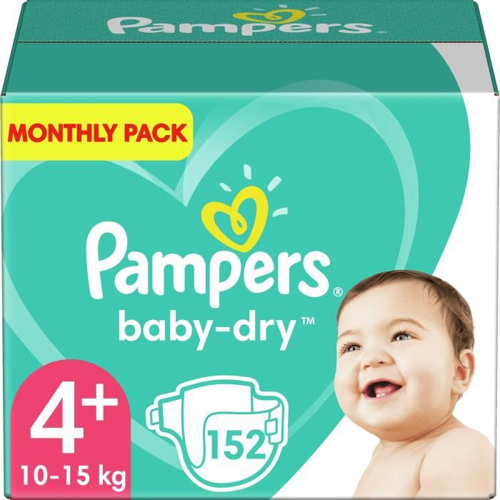 COUCHE PAMPERS Baby Dry Taille 4+ - 10 à 15kg - 152 couch