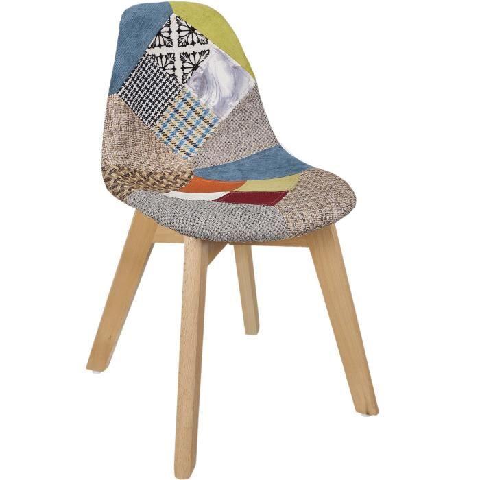Poufs fauteuils et chaises - Chaise patchwork - Enfant - L 57,8 x l 47 cm x H 86,5 cm - Multicolore