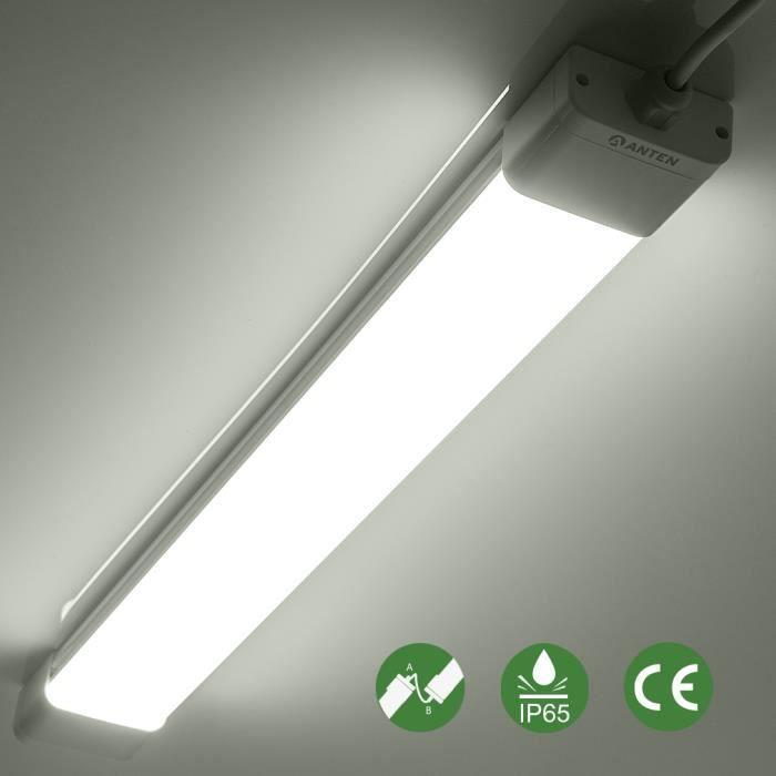 ANTEN Tube Néon LED-1.2m-36W-6000-6500K-Blanc Froid-IP65-Waterproof, Anti-corrosion, Anti-poussière, Anti-choc